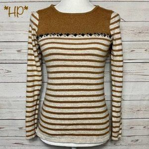 J. Crew Jeweled Striped Merino Wool Sweater Brown